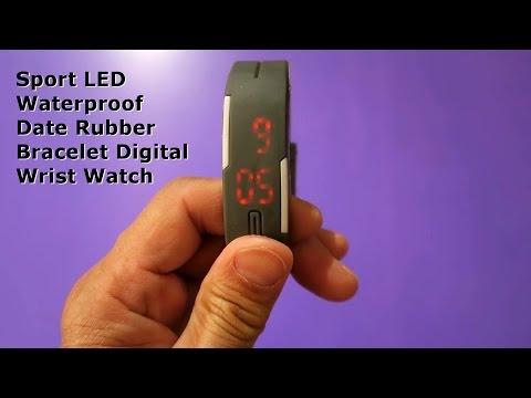 Sport LED Waterproof Date Rubber Bracelet Digital Wrist Watch unboxing