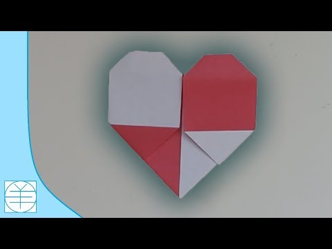 Origami Two-Colored Heart. (Instructions) (Valentine's day) (HD)