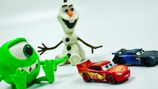 Cars 3 Toys Lightning McQueen & Jackson Storm RACERS for Play Doh Olaf & Monsters University Mike