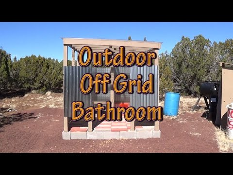 Outdoor Off Grid Bathroom Walls and Roof Completed - A Little Privacy from the Wildlife