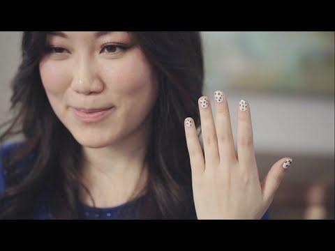 White & Gold Polka Dot Sharpie Manicure