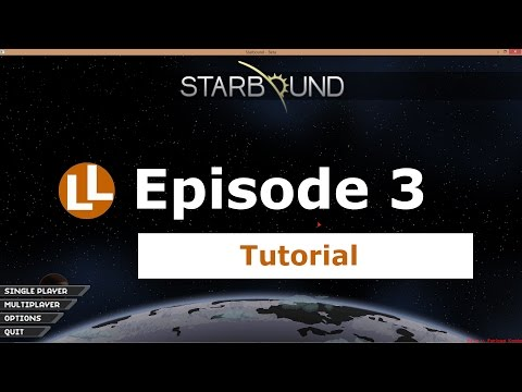Starbound Tutorial - Episode 3 - craft wood planks, wooden craft table, shop class quest