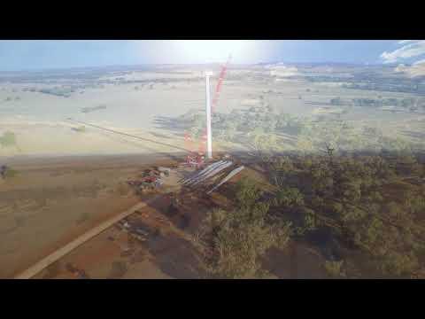 wellington wind farm first tower