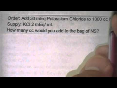 Potassium find ml, DO meq, SH meq/ml