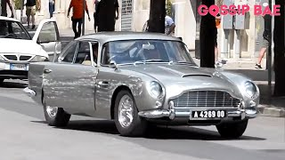 James Bond filming with an Aston Martin DB5 for