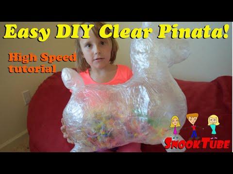 Homemade DIY clear Pinata donkey tutorial at high speed.