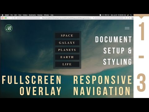 Fullscreen Overlay Responsive Navigation - Document Setup and Styling - 1/3