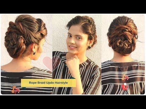 Cute Rope Braid Bun/Updo Hairstyle   Stylish Bun Hairstyle for Wedding   Komal's hair