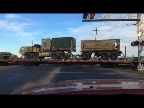 BNSF Covoy Train Transporting Military Vehicles!!!