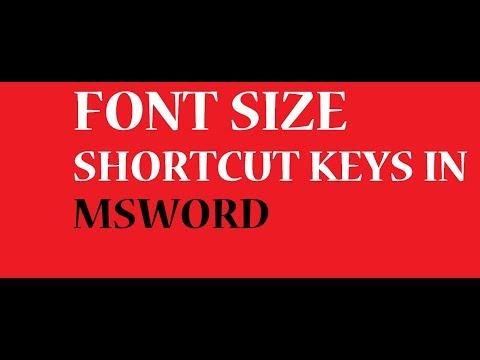 shortcut keys of font size microsoft word