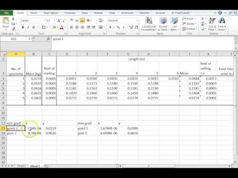 Density of a Metal Pipe Experiment Excel Data Analysis part 4