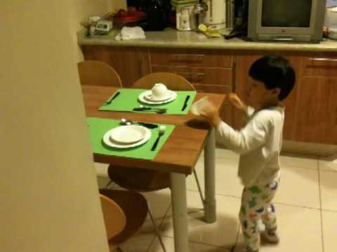 Stefan Setting the table for Breakfast Oct 09