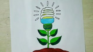 How To Draw Very Easy Save Electricity Save Energy Drawing For Kids