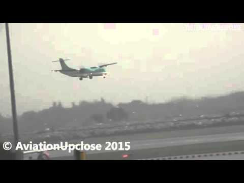 Watch terrifying moment Aer Lingus plane is forced to abort landing amid high winds at airport
