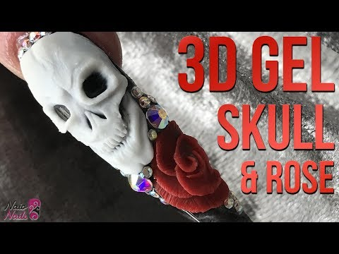 3D Gel Skull & Rose - Halloween Nail Design - 3D Sculpting Gel