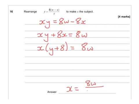 AQA Further Maths GCSE 2016 Paper 2 - Q16 - Rearranging Formulae
