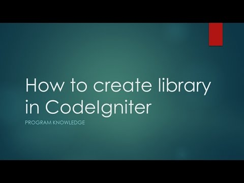 How to create library in CodeIgniter 3