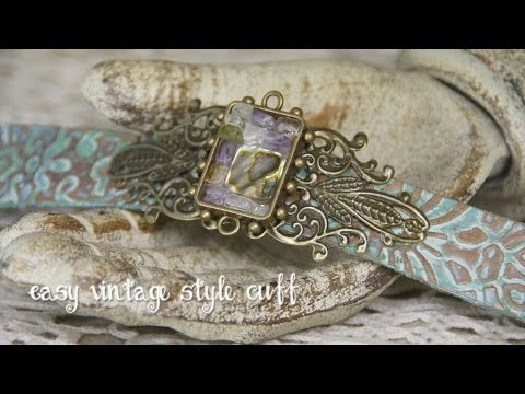 Mixed Media Monday - How to make a vintage style cuff  using beads in bezels