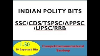 Indian Polity bits in english for SSC/RRB/CDS/TSPSC/APPSC || Part 1