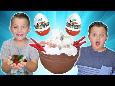 Chocolate Surprise Egg Giant Ice Cream Sundae Game! Kids Eat Real Funny Food