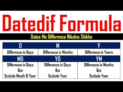 Datedif Formula in Excel Hindi
