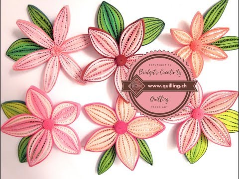 Quilling flowers made with oca-wrap comb technique