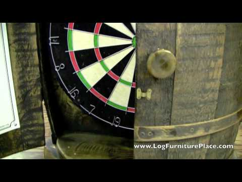 Rustic Whiskey Barrel Dartboard Cabinet from LogFurniturePlace.com