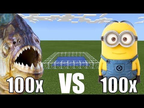 100 PIRANHAS vs 100 MINIONS in Minecraft PE