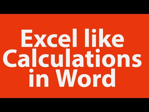 Excel like calculations in word