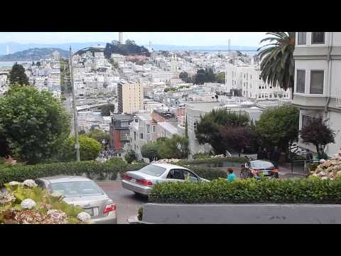 Cars going down Lombard Street, San Francisco