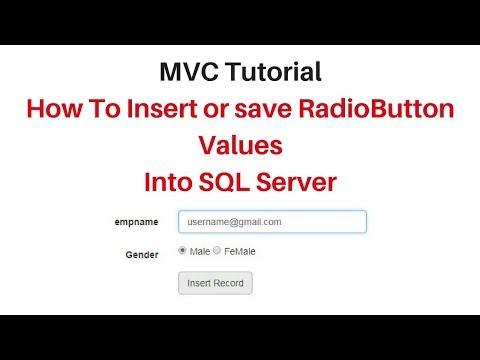 MVC save (insert) radiobutton value to database sql server asp.net