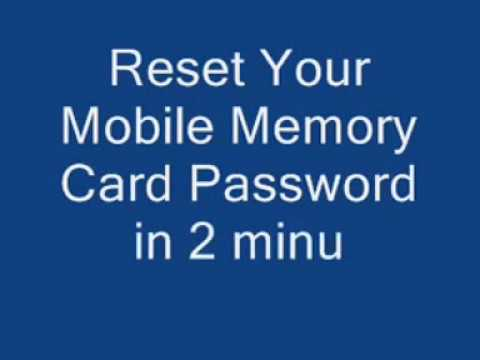 How to reset your memory card password - need 2minutes only.