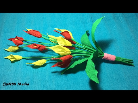 How To Make an origami bouquet of Calla Lily Flower by Crepe Paper easy/ paper Craft Tutorial
