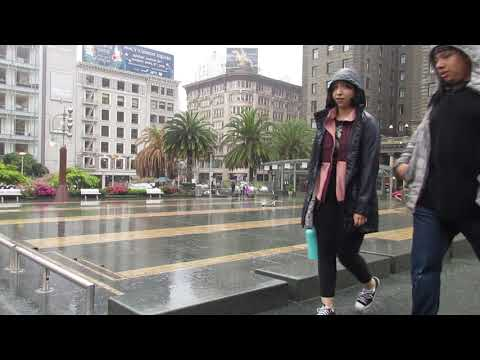 Rainy Storm Union Square San Francisco California April 2018