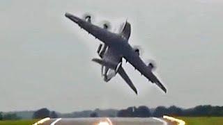 Airbus A400M Combat Takeoff At RIAT 2017.