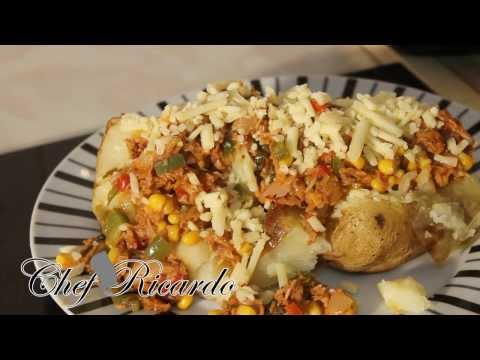 English Oven Baked Jacket Potatoes With Tend Fry Up Tuna & Cheddar Cheese | Recipes By Chef Ricardo