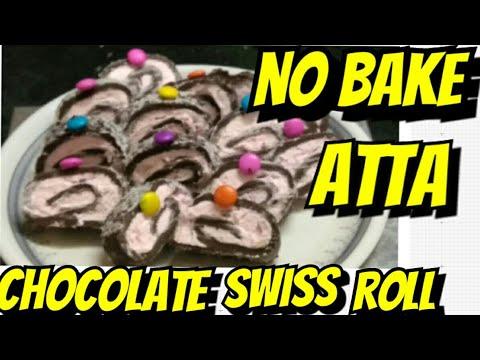 Atta se Banaye Chocolate Swiss Roll | No Bake Chocolate Swiss Roll | Easy &Tasty Chocolate SwissRoll