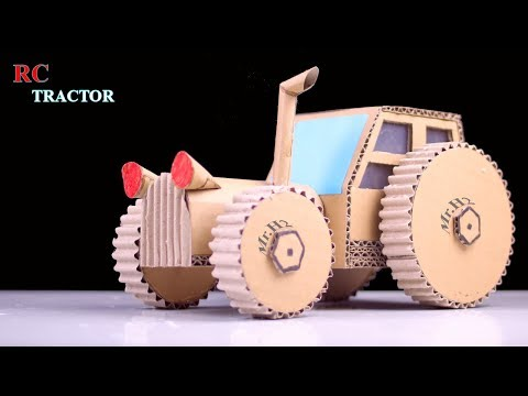 How To Make a Simple Rc Tractor From Cardboard and Motor DC - Diy toy for kids