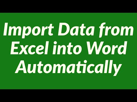 Import Data from Excel into Word Automatically Using VBA
