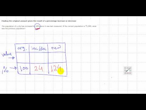 Finding the original amount given the result of a percentage increase or decrease