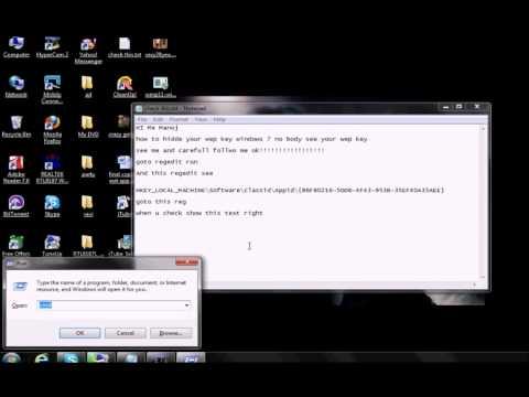 How hidde your wep key in windows 7.avi