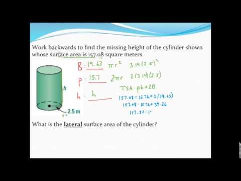 Working backwards from total surface area to find a missing dimension of a prism or cylinder