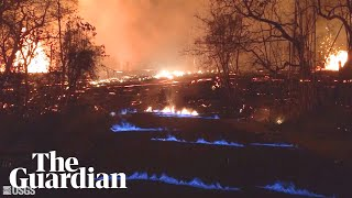 Hawaii volcano: blue flames burn in streets as methane escapes