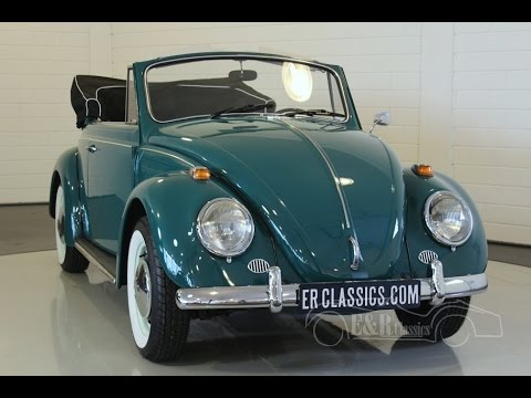 Volkswagen Beetle cabriolet rare 1500 model 1966 Java Green restored -VIDEO- www.ERclassics.com