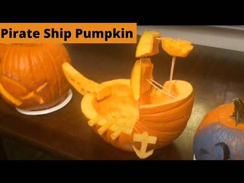 Pumpkin Pirate Ship/Boat - Halloween Pumpkin Carving Idea
