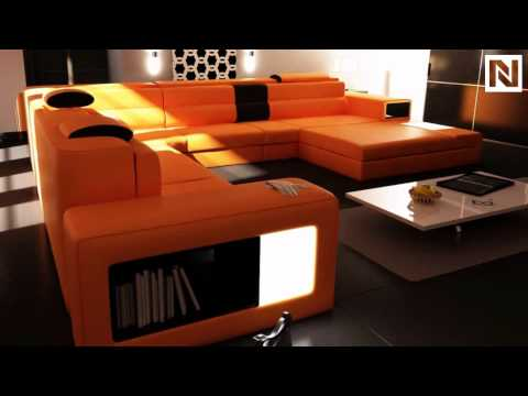 Pleasant Vig Furniture 5022 Polaris Orange Bonded Leather Sectional Caraccident5 Cool Chair Designs And Ideas Caraccident5Info
