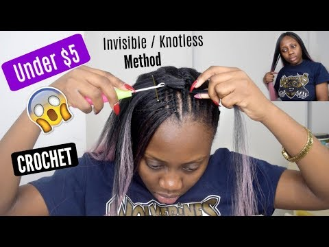 UNDER $5 KNOTLESS / INVISIBLE PART CROCHET BRAIDS TUTORIAL WITH KANEKALON HAIR