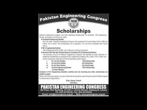 Scholarship 2016 2017 Pakistan Engineering Congress