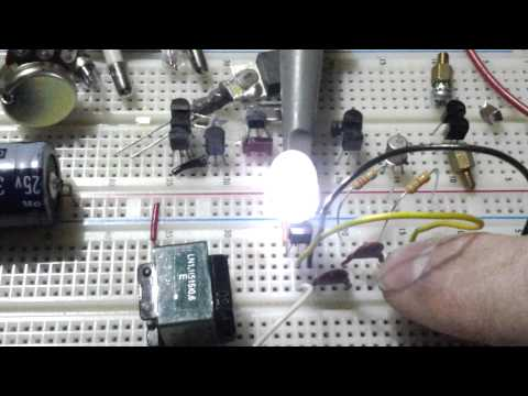 One inductor and one transistor light an LED
