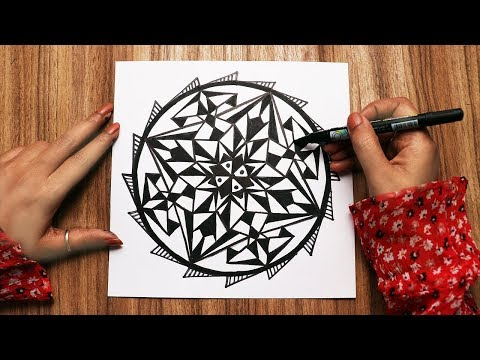 How to draw a GEOMETRIC MANDALA ART | Basic technique | Step by step